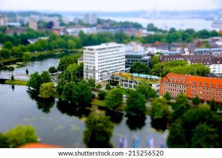 Pictures made with tilt shift during the Kieler Woche from the Town Hall Tower  - stock photo