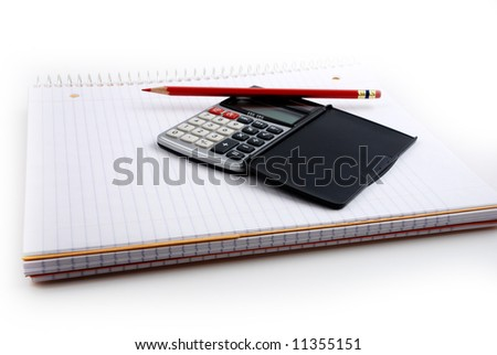 Pictures of a calculator and glasses resting on a notepad, ready to do calculations