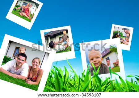 Pictures of a happy family flying on blue sky