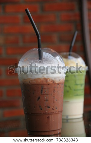 Pictures of cool coffee and green tea #736326343