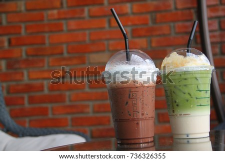 Pictures of cool coffee and green tea #736326355