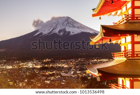 Pictures of Fuji Volcano in the beautiful Japanese winter evening