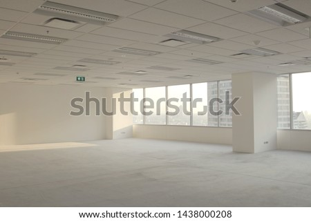 Pictures of the office room on the building before decorating.Empty and functional area.