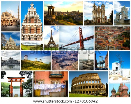 Pictures of very popular and touristic places in the world