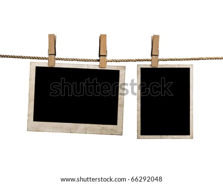 pictures on a rope with clothespins, with clipping path for images