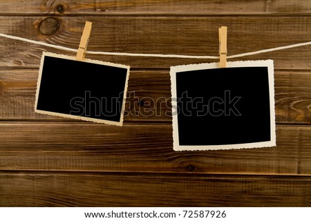 pictures on a wooden background
