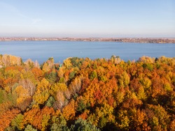 Picturesque aerial view of lake on the river with calm water and colorful autumn forest on picturesque shores. View from flying drone. Location place: Khrinnyky reservoir on the Styr River, Ukraine.