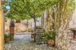 Picturesque alleyway in lower Monastery of St. John the Baptist.is part complex of the Patriarchal Preveli Monastery of St. John the Theologian, known as the Monastery of Preveli.Crete.Greece.Europe.