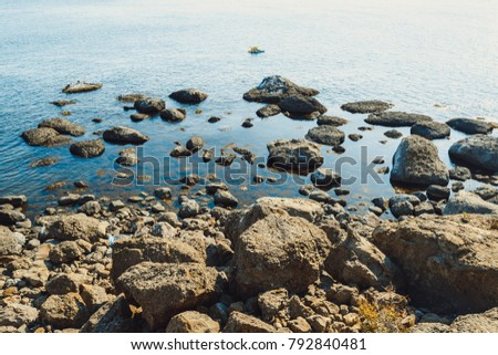 Picturesque and precipitous shore of the summer sea #792840481