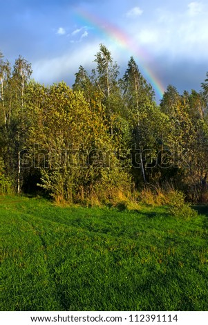 Picturesque autumn landscape with  rainbow  over the woodland
