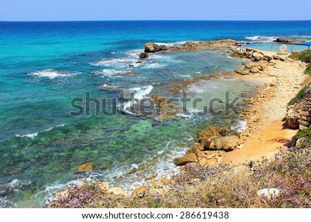 picturesque bay of the Mediterranean Sea, nature reserve Achziv in the Western Galilee, Israel #286619438