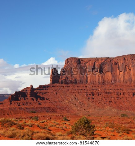 Picturesque cliffs of red sandstone in the Navajo reservation
