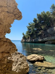 Picturesque cliffs of the Adriatic coast in Montenegro. Stone  rock profile. Rocky beach. Clear turquoise Adriatic Sea. Coniferous forest. Summer in Montenegro. Vacation on the beach. Scenery nature.