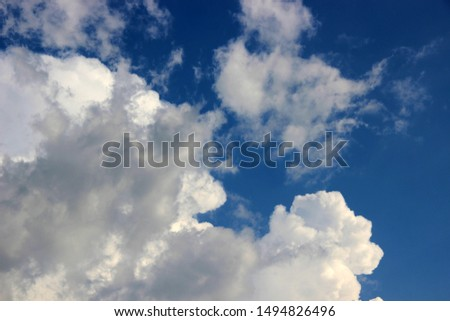 Picturesque cloudscape. Beautiful blue sky in fluffy cirrus clouds. Hd wallpaper sky nature wallpapers for desktop backgrounds. #1494826496