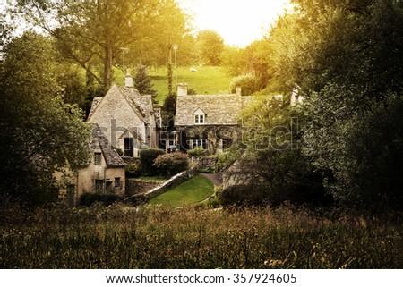 Picturesque Cotswold village of Castle Combe, England  Foto d'archivio ©