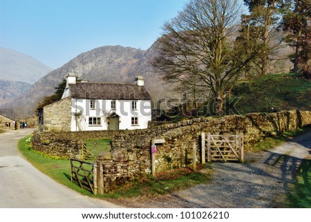 Picturesque cottage on Yew Tree Farm in the English Lake District which was once owned by Beatrix Potter