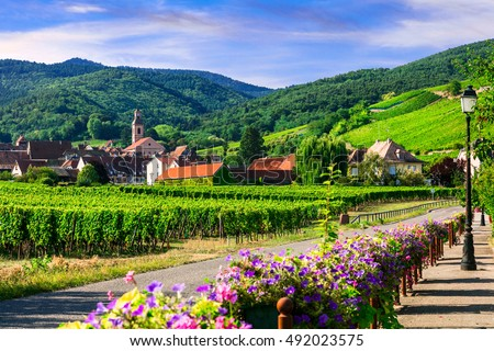 "Picturesque countryside of Alsace region- famous ""vine route"" France"