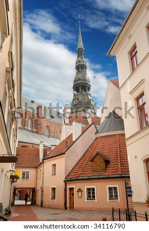 Picturesque court yard in an old city Riga, Latvia.