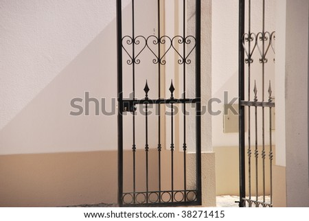 picturesque entrance gate made of metal