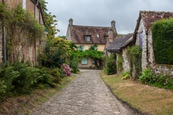 Picturesque European country house in summer. Traditional  French village