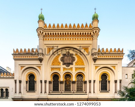 Photo of  Picturesque facade of Spanish Synagogue in Josefov, Prague, Czech Republic.