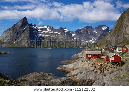 Picturesque fishing village on the coast of fjord on Lofoten islands in Norway