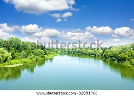 Picturesque forest and the river #82081966