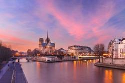 Picturesque grandiose sunset over Ile de la Cite, Seine River and Cathedral of Notre Dame de Paris, France
