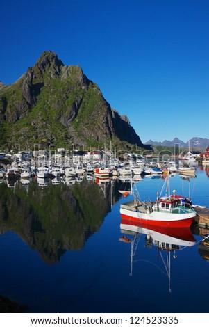 Picturesque harbor in Svolvaer on Lofoten islands in Norway
