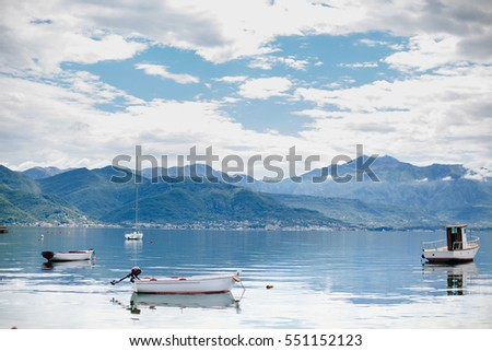 picturesque harbour with boats and yachts. Montenegro. #551152123