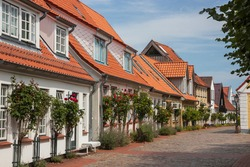 picturesque houses in the historic fishing village Holm in the city of Schleswig