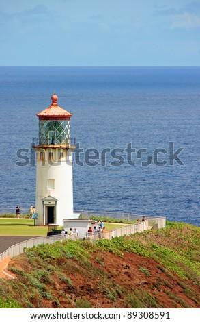 Picturesque Kilauea Historical Lighthouse Kauai Island Hawaii - stock photo