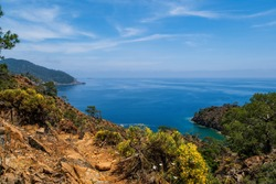 Picturesque landscape of Maden Bay near Cirali from lycian trail, Kemer, Antalya. May 2021, long exposure picture
