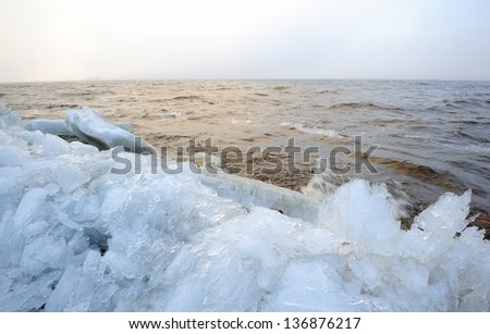 Picturesque landscape of the Baltic sea with ice boulders