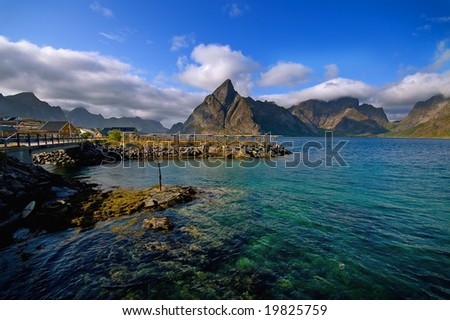Picturesque landscape of the fjord over high mountains