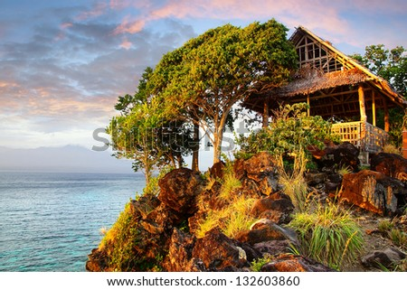 Picturesque landscape with hut. Apo island, Philippines