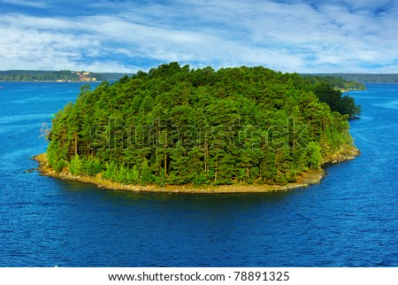 Picturesque landscape with island.