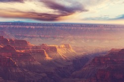 Picturesque landscapes of the Grand Canyon, Arizona, USA. Beautiful natural background. travel sunset freedom