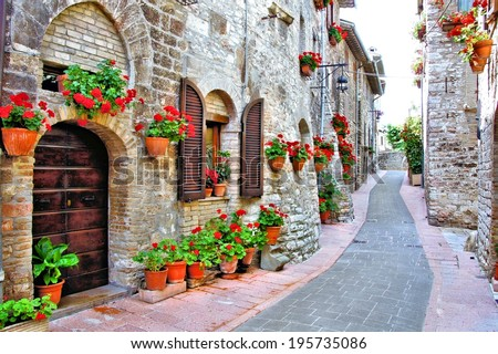 Picturesque lane with flowers in an Italian hill town                        Foto d'archivio ©