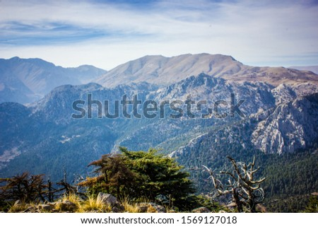 Picturesque mountain landscape. Amazing mountain view with the colorful cloudy sky, natural outdoor travel background. Beauty nature. #1569127018