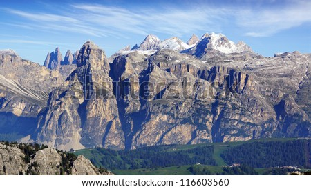 Picturesque mountain landscape with Marmolada. Italy Panorama