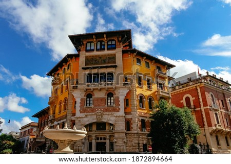 Picturesque neighborhood in Piazza Buenos Aires, with Frog fountain in Rome Foto stock ©