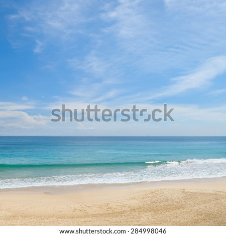 picturesque ocean coast and blue sky #284998046