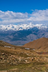 Picturesque of mountain range at Khardung La (Khardung Pass), a mountain pass on Ladakh Range is north of Leh and is the gateway to the Shyok and Nubra valleys, Leh Ladakh, Jammu and Kashmir, India