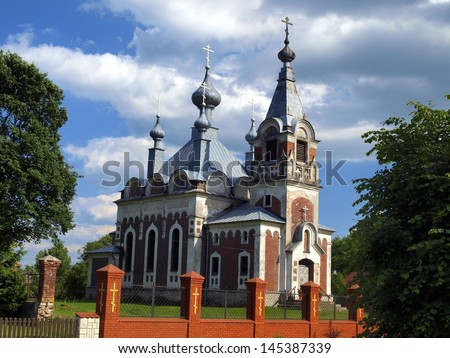 picturesque Orthodox Church of the Assumption of the Blessed Virgin Mary in Slawatycze in the eastern Polish near the river Bug