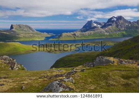 Picturesque panorama on Lofoten islands in Norway with fjords and high mountains with snowy peaks