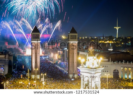 Picturesque Placa Espana at New Year night with city lights in Barcelona