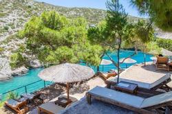 Picturesque Porto Limnionas rocky beach on west coast of Zakynthos island, Greece