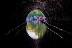 Picturesque Regent's Canal, between Regent's Park and Camden, London UK, photographed on a warm summer's day in August 2019.