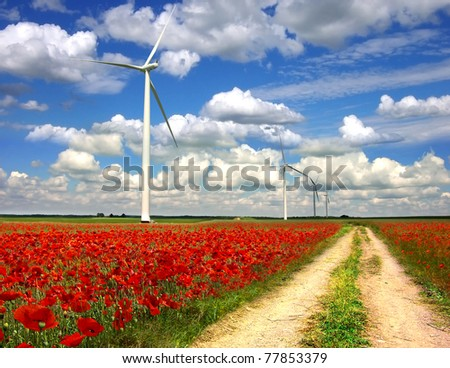 Picturesque rural landscape with wind turbines on poppies plantation.